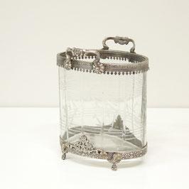ガラスケース オーバルガラスケース 取っ手付き 切子ガラスボックス オシャレ ボックス 真鍮 小物入れ シャビーシック クラシック BOX 銀 シルバー 7347027