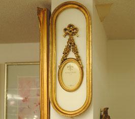 写真額 壁掛けフォトフレーム 壁掛け リボン 楕円形 アンティーク クラシック フレーム 金 ゴールド 1383214