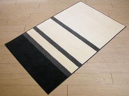 カーペット ラグ おしゃれ 洗える 長方形 綿 コットン フランス製 スタイルフランス 66×107 cm 玄関マット 綿100% Safari way black&white