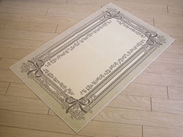 カーペット ラグ リボン おしゃれ 洗える 長方形 綿 コットン フランス製 スタイルフランス 66×107 cm 玄関マット 綿100% SATINE LIN