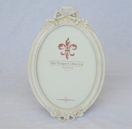 ダブルリボン写真立て フォトフレーム 楕円 オーバル 可愛い アンティーク風 ホワイト シャビーシック フレンチ リボンモチーフ フレンチ 1383192 L