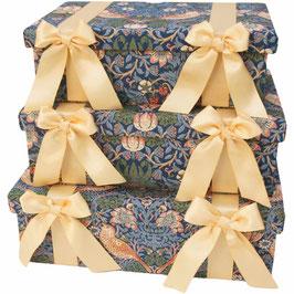 ウィリアムモリス リボン ボックス 3個 セット BOX Jennifer Taylor ジェニファー・テイラー カルトナージュ StrawberryThief 33099BX