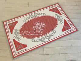 カーペット ラグ おしゃれ 洗える 長方形 綿 コットン フランス製 スタイルフランス 66×107 cm 玄関マット 綿100% ALIXE rouge
