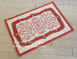 カーペット ラグ おしゃれ 洗える 長方形 綿 コットン フランス製 スタイルフランス 玄関マット 綿100% 50x70 cm ALICANTE ROUGE