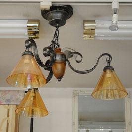 シャンデリアランプ おしゃれ 3灯 シャンデリア 照明器具 アンティーク調 ガラスシェード カフェタイプ ランプ 0711001