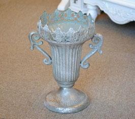 花瓶 アンティーク調 花入れ コンポート シルバー クラシック 盃  14506FV
