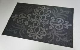 ランチョンマット 洗えるマット オシャレ カフェ マット プレースマット ダマスク柄 ダマスクローズ 長方形 ブラック 黒 44401PM-BK