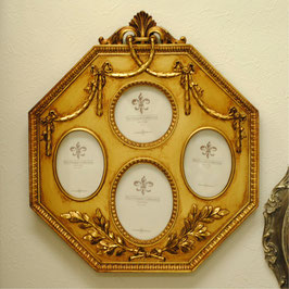写真額 壁掛けフォトフレーム フォトスタンド リボンタッセル額 八角形 アンティーク クラシック 4窓 ファミリーフォトフレーム  金 ゴールド 1383210