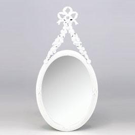 壁掛け鏡 リボン デコレーションミラー ホワイトミラー 鏡 かわいい 壁掛け アンティーク風 フレンチ風 フランス風  883018 WH