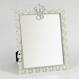 おしゃれ 壁掛け鏡 スタンドミラー 長方形 ウォールミラー 王冠 クラウン キラキラ ラインストーン シルバー 822002