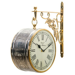 時計 両面型掛け時計 真鍮 駅舎時計 壁掛け時計 掛時計 オシャレ おしゃれ ウォールクロック ウォール クロック 丸 Ethnic clock Makerts 306030