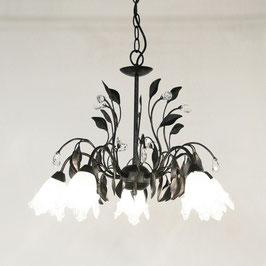 シャンデリア シャンデリアランプ 5灯 オシャレ おしゃれ アンティーク クラシック ガラスシェード 照明 白シェード ホワイトシェード   照明器具 ランプ 725052