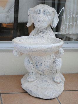 ドッグ置物 犬 白ブチ 花台 プランタースタンド 白 ホワイト 399004