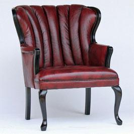 アームチェア ウイングチェア シェルバックチェア 一人掛け ソファ 椅子 おしゃれ 本革製 皮革 レッド 赤 Chair 210036