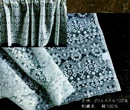 カフェカーテン レース生地 コットン刺繡 レースカフェカーテン レースカーテン 刺繍 60×120 WK5263U2