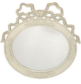 ミラー 壁掛け鏡 オシャレ リボン オーバル ウォールミラー 白 ホワイト 864000