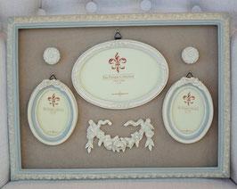 フォトフレーム 3窓 オシャレ バラ グリーン ホワイト クラシック アンティーク 1383173