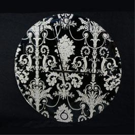 時計 壁掛け時計 オシャレ 丸 アンティーク 掛時計 ダマスク柄 ミラー時計 シャビーシック クラシック 鏡文字盤 ウォールクロック 73300WC