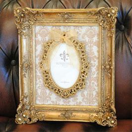 フォトフレーム リボン デコラティブ ゴールドフォトフレーム 壁掛け フレーム 写真額 ウォールデコ アンティーク風 シャビーシック ガーリー 姫系 アンティーク 雑貨 1383011