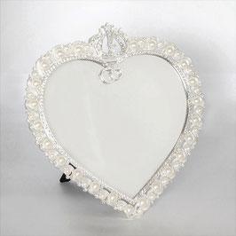 おしゃれ 壁掛け鏡 スタンドミラー ハート形 ウォールミラー パール 真珠 キラキラ ラインストーン シルバー 822003