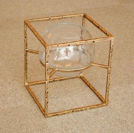 キャンドルホルダー ハリケーンキャンドルホルダー スクエア ブラス ガラスボウル 花入れ フラワーベース 花瓶 真鍮 小物入れ クラシック BOX 金 ゴールド 7435031