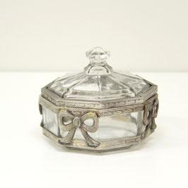 リボン 切子ガラスボックス オシャレ ボックス 真鍮 小物入れ シャビーシック クラシック BOX 銀 シルバー 7347007