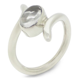 Ring zilver met bergkristal