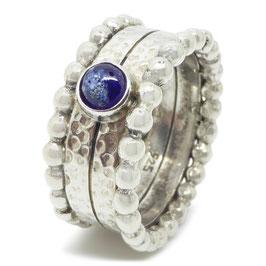 Ring zilver - blauwe as-steen