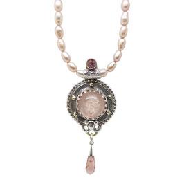 Hanger zilver/goud details - Parelsnoer roze