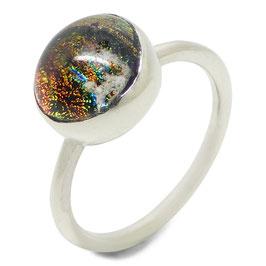 Ring zilver - ronde glazen as-steen