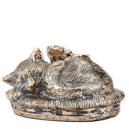Dierenurn kat met engelenvleugels brons