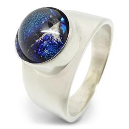 Ring zilver - breed rond glazen as-steen