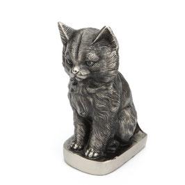 Dierenurn zittende kat zilverkleur