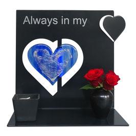 Gedenkobject met glasurn hart