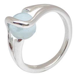 Ring zilver - glasbol