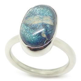 Ring zilver - ovaal glazen as-steen