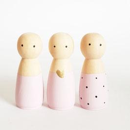 Houten pop vrouw/meisje Licht roze BASIC