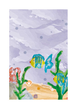 "Postkarte ""Krabbe&Fische"""