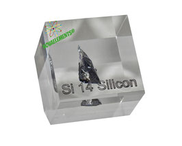 Silicon big crystal 99,999% ACRYLIC CUBE