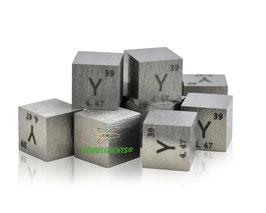 Yttrium metal density cube 99.95% 10mm