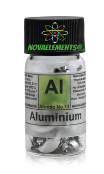 Aluminium metal shiny turnings fulfilled vial
