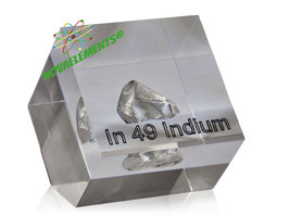 Indium metal amazing piece 99,995% in acrylic cube