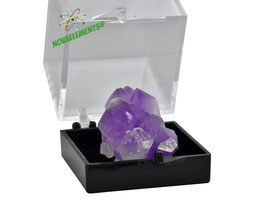 Amethyst in display case