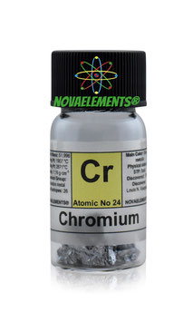 Chromium metal shiny pieces 5 grams 99,8% in glass vial