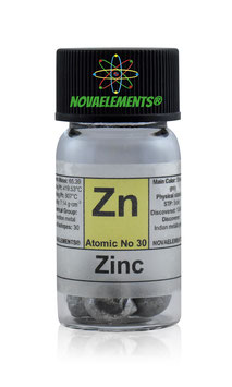 Zinc metal pellets 3 grams 99.95% in glass vial