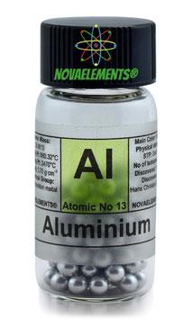 Aluminium metal shiny pellets 99,99%  3 grams in glass vial