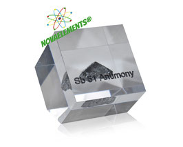 Antimony metal BIG SHINY SAMPLE ACRYLIC CUBE