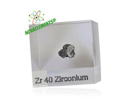 Zirconium metal SHINY PIECE 99,5% ACRYLIC CUBE 5 grams