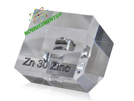 Zinc metal 99,999% big and shiny cuttings acrylic cube