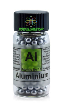 Aluminium metal spheres fulfilled vial 99,9% 10 grams